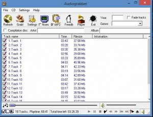 Picture 3: The CD tracks have been detected by AudioGrabber.
