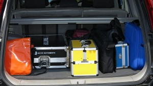 Car packed with equipment for A/V Djing