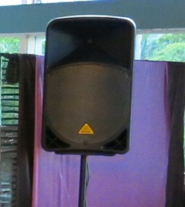Active speaker on a stand