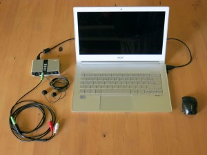 Motebook with external multichannel sound device